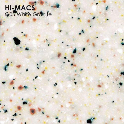 Столешница Г-образная Акрил LG HI-MACS lg-hi-macs-granite-g05-white-granite